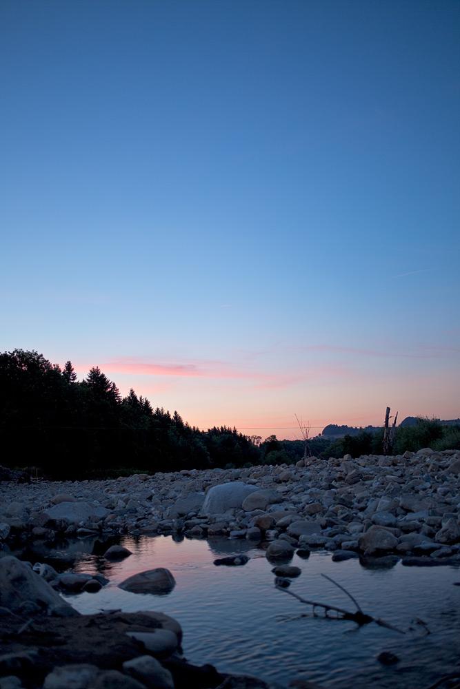 Sonnenuntergang an der Sense bei Plaffeien