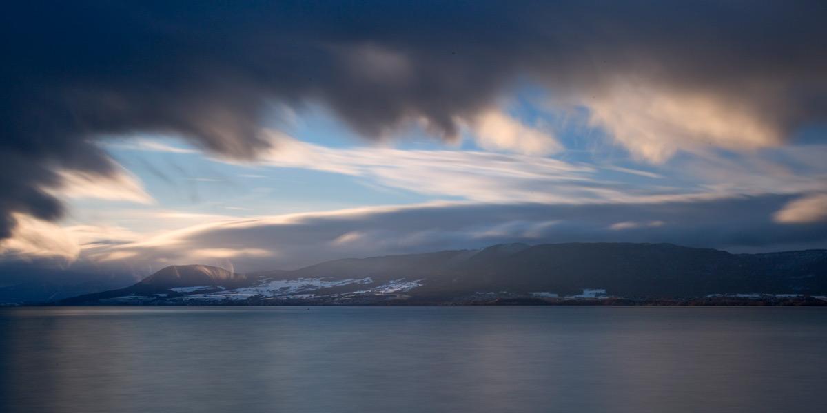 Langzeitbelichtung, abziehende Schneefront