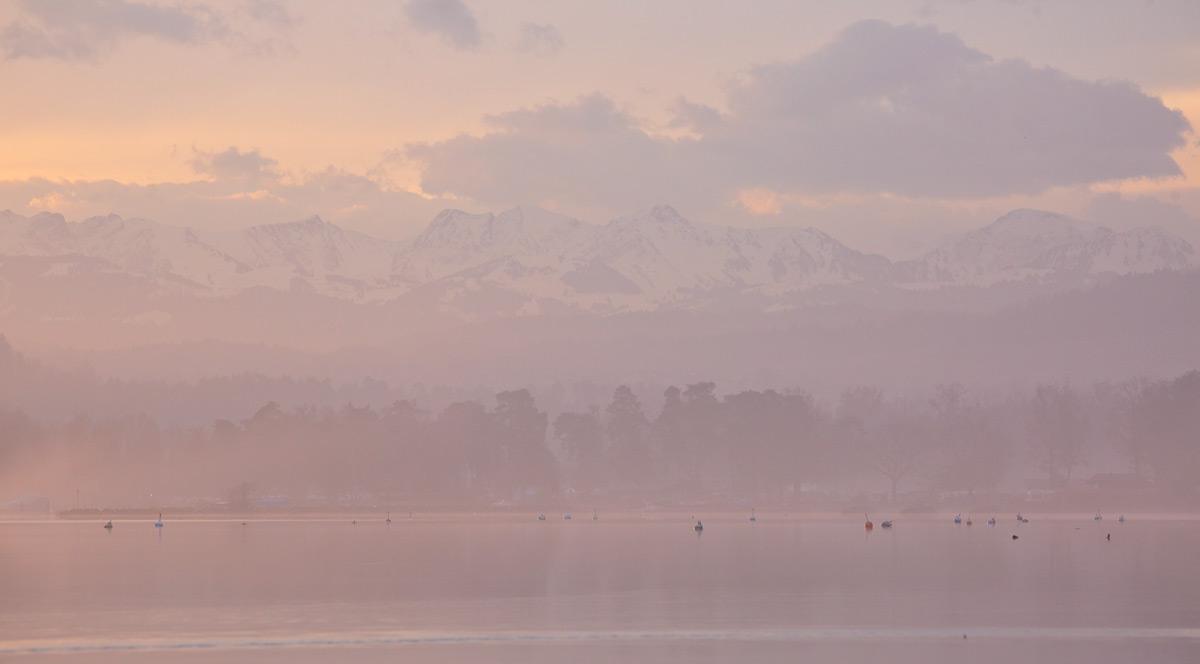 Die Alpen bei Sonnenaufgang am Murtensee